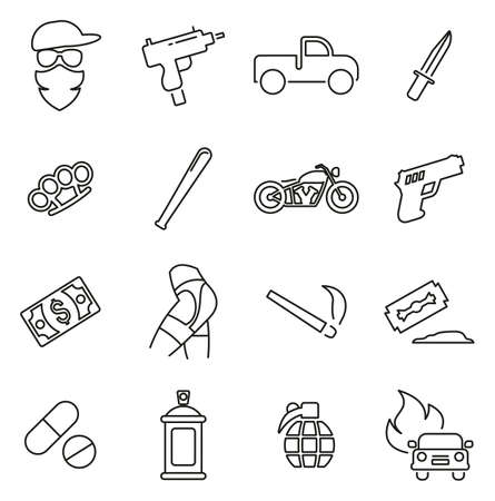 Modern Gangster or Outlaw Gang Icons Thin Line Vector Illustration Set