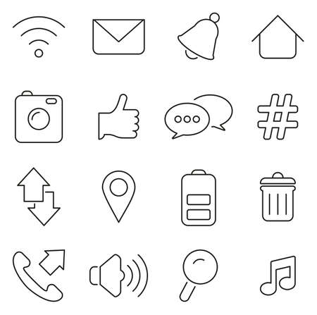 Mobile Phone Icons Thin Line Vector Illustration Set Çizim