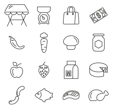Market Place or Market Stand Icons Thin Line Vector Illustration Set Ilustrace
