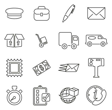 Mail Man or Post Office Worker Icons Thin Line Vector Illustration Set