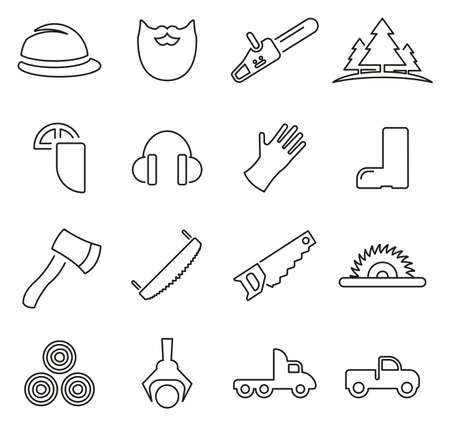 Lumberjack or Logger Icons Thin Line Vector Illustration Set