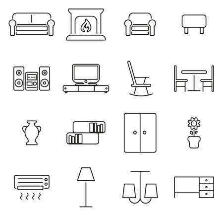 Living Room Furniture Icons Thin Line Vector Illustration Set