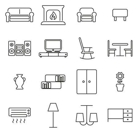 Living Room Furniture Icons Thin Line Vector Illustration Set