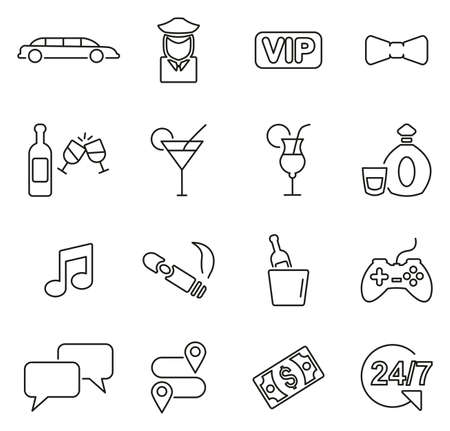 Limousine Service Icons Thin Line Vector Illustration Set