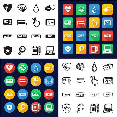 Lie Detector All in One Icons Black & White Color Flat Design Freehand Set Çizim