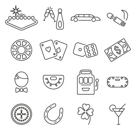 Las Vegas City & Culture or Gambling Icons Thin Line Vector Illustration Set Illustration