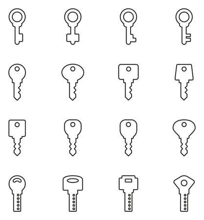 Keys Icons Thin Line Vector Illustration Set Vectores