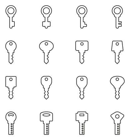 Keys Icons Thin Line Vector Illustration Set Illustration