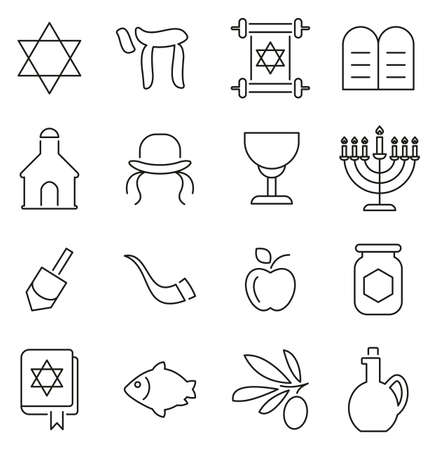 Judaism Religion & Religious Items Icons Thin Line Vector Illustration Set