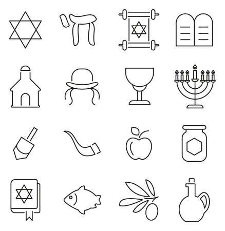 Judaism Religion & Religious Items Icons Thin Line Vector Illustration Set
