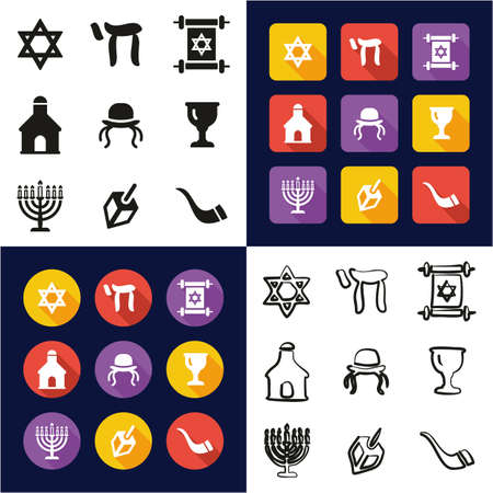 Judaism All in One Icons Black & White Color Flat Design Freehand Set Ilustração