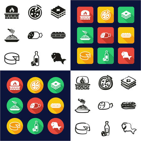 Italian Food All in One Icons Black & White Color Flat Design Freehand Set