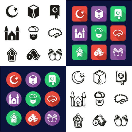 Islamic Religion All in One Icons Black & White Color Flat Design Freehand Set Illustration