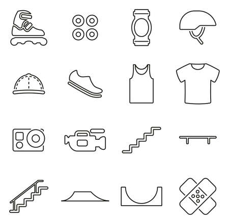 Inline Extreme Sport Icons Thin Line Vector Illustration Set