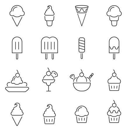 Eiscreme oder gefrorene Festlichkeits-Ikonen verdünnen Linie Vektor-Illustrations-Satz