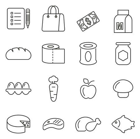 Grocery List or Food Shopping Icons Thin Line Vector Illustration Set Иллюстрация