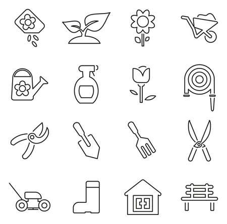 Gartengeräte & Ausrüstungs-Ikonen-dünne Linie Vektor-Illustrations-Satz