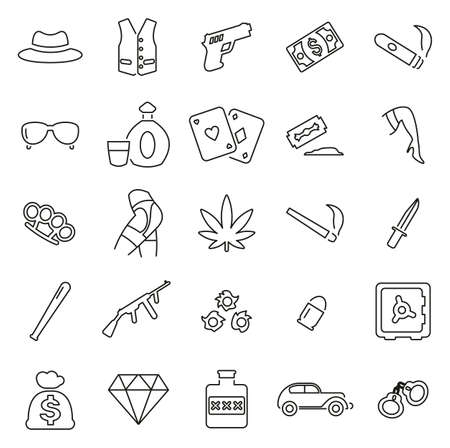 Gangster or Mafia or Criminal Icons Thin Line Vector Illustration Set.