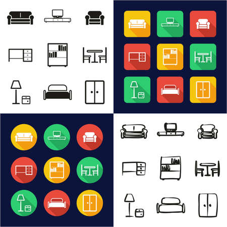 Furniture All in One Icons Black Illustration