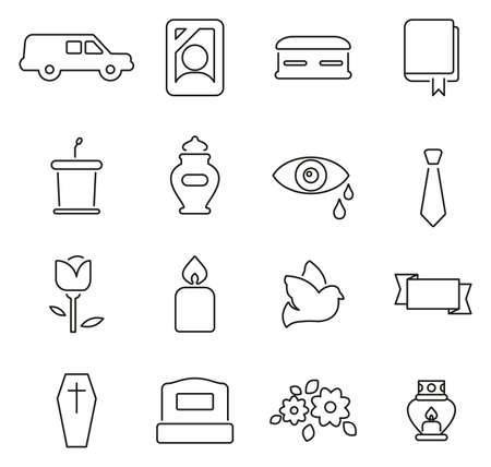 Funeral Ceremony or Burial Ceremony Icons Thin Line Illustration Set.