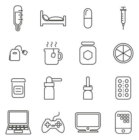 Flue or Cold or Sick Icons Thin Line Illustration Set.