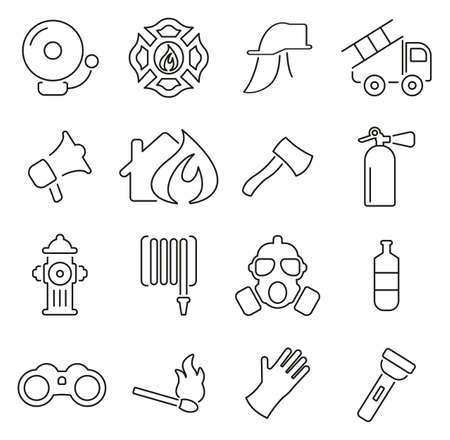 Fireman or Fire Rescue Icons Thin Line  Illustration Set.