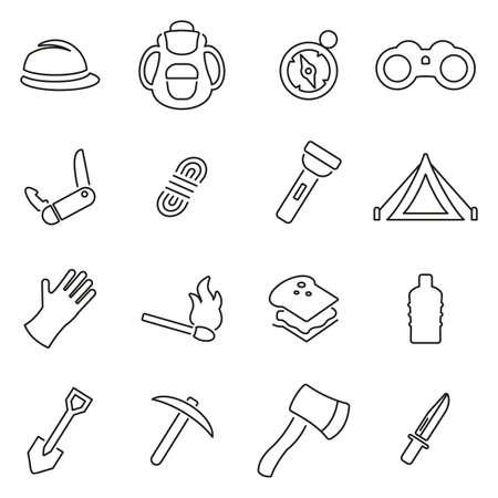 Travel Icons Thin Line Illustration Set.
