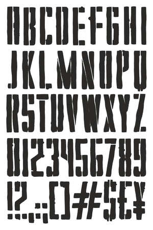 Vintage Propaganda Poster Stencil Spray Paint Freehand Vector Font with Uppercase Letters, Numbers & Signs