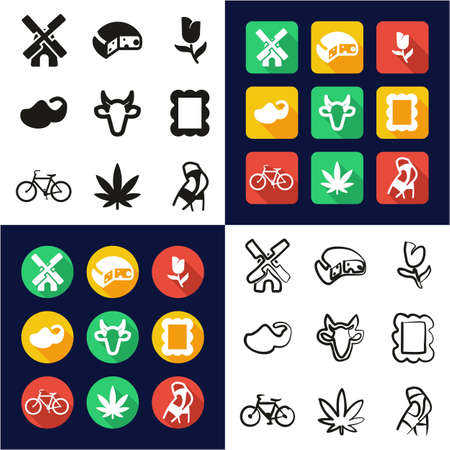 Dutch Culture All in One Icons Black & White Color Flat Design Freehand Set 일러스트