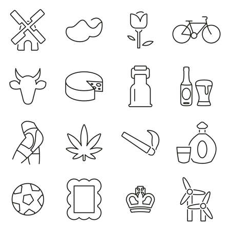 Dutch Culture & Tradition Icons Thin Line Vector Illustration Set Çizim
