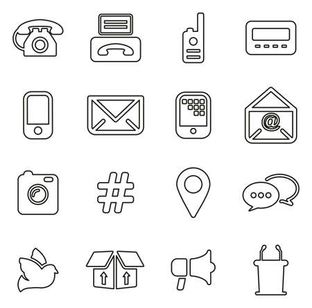 Different Ways Of Communication Icons Thin Line Vector Illustration Set