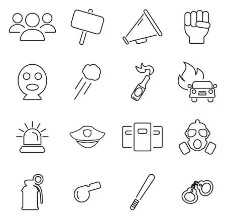 Demonstration or Protest Icons Thin Line Vector Illustration Set