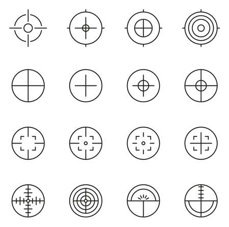 Crosshair or Sight Icons Thin Line Vector Illustration Set Illustration