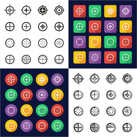 Crosshair All in One Icons Black & White Color Flat Design Freehand Set