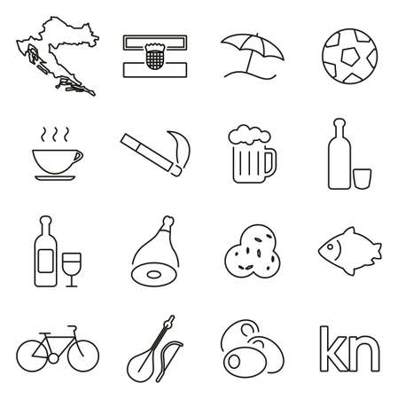 Croatia Country & Culture Icons Thin Line Vector Illustration Set  イラスト・ベクター素材