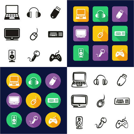 Computer All in One Icons Black & White Color Flat Design Freehand Set