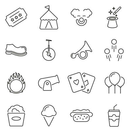 Circus Show or Fair Show & Entertainment Icons Thin Line Vector Illustration Set
