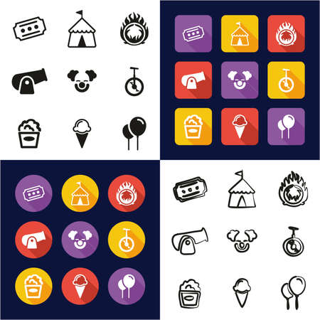 Circus All in One Icons Black & White Color Flat Design Freehand Set
