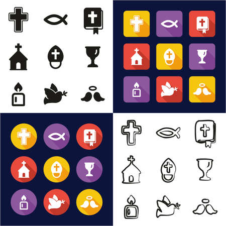 Christianity All in One Icons Black & White Color Flat Design Freehand Set Illustration