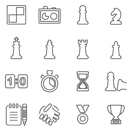 체스 게임 및 장비 아이콘 씬 라인 벡터 일러스트 세트 일러스트