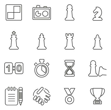 Chess Game & Equipment Icons Thin Line Vector Illustration Set