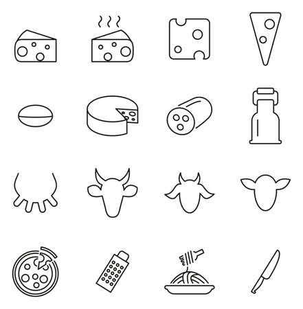 Cheese Type Icons Thin Line Vector Illustration Set