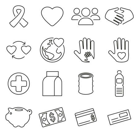 Charity or Helping Icons Thin Line Vector Illustration Set