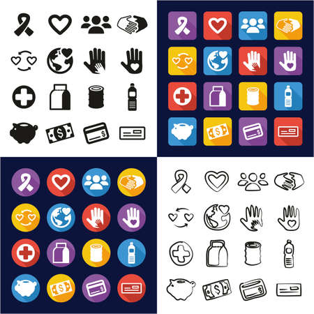 Charity All in One Icons Black & White Color Flat Design Freehand Set