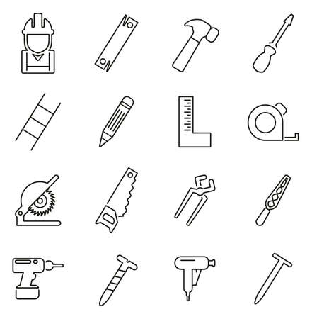 Carpenter or Woodworker or Handyman Icons Thin Line Vector Illustration Set Stock Illustratie