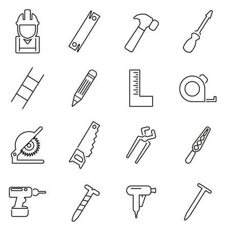 Carpenter or Woodworker or Handyman Icons Thin Line Vector Illustration Set Illustration