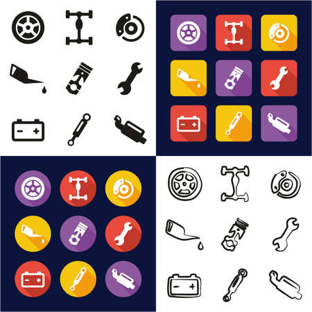 Car Mechanic All in One Icons Black & White Color Flat Design Freehand Set