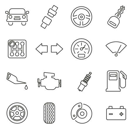 Car & Car Parts Icons Thin Line Vector Illustration Set