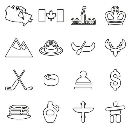 Canada Country & Culture Icons Thin Line Vector Illustration Set Ilustrace