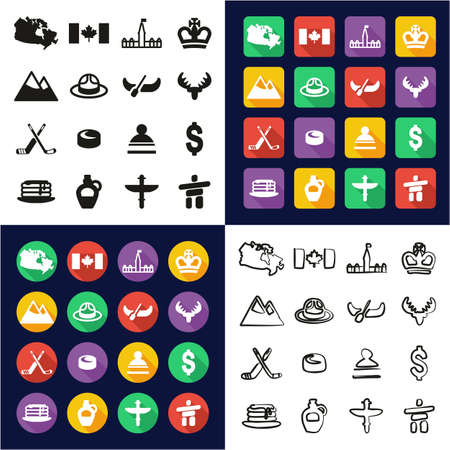 Canada All in One Icons Black & White Color Flat Design Freehand Set
